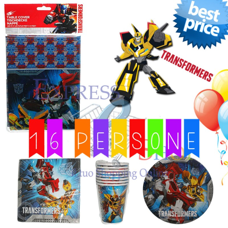 > KIT PARTY PER FESTE COMPLEANNO > KIT PARTY TRANSFORMERS 16 PERSONE
