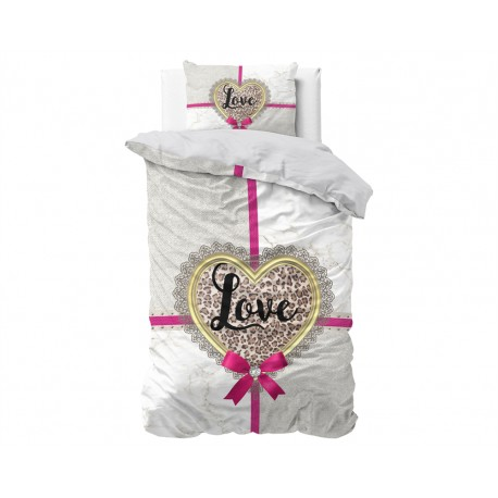Copripiumino sacco copripiumone puro cotone All you need is love + 1 federa per letto singolo