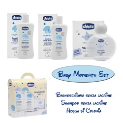 Set Chicco Baby Moments Bagnoschiuma Shampoo Acqua di Colonia
