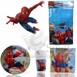 KIT COMPLEANNO SPIDERMAN PARTY FESTA COMPLETO DI ACCESSORI