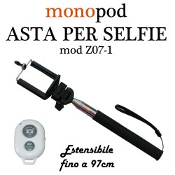 BASTONE ASTA PER SELFIE MONOPOD PER SMARTPHONE ANDROID iOS CON TELECOMANDO