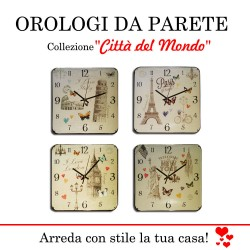 OROLOGIO DA PARETE IN VETRO ITALIA, NEW YORK, PARIGI E LONDRA