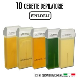 10 Ricariche Rullo Cera Depilatoria Epildeli Cartuccia Roll-on Ceretta 100ml