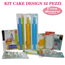 KIT 32 PEZZI ACCESSORI CAKE DESIGN STAMPI ATTREZZI TORTA PASTA DI ZUCCHERO