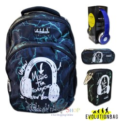 Zaino Evolution Bag Music con cuffie blu, bauletto e astuccio